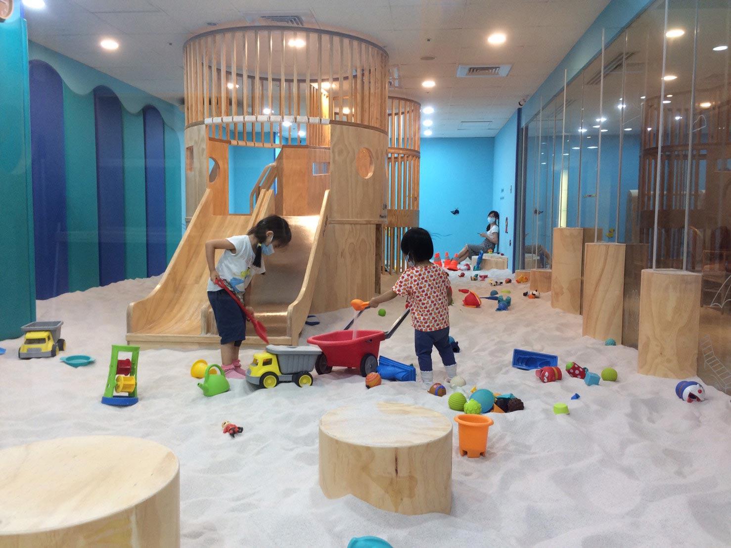 【親子飯店】新竹國賓大飯店:Hape木樂地沙坑、游泳池、三溫暖